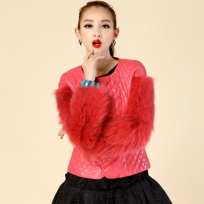 名皮网2013新款女士菱格纹桃红色短款双袖狐狸毛拼接真皮绵羊皮加薄棉短外套
