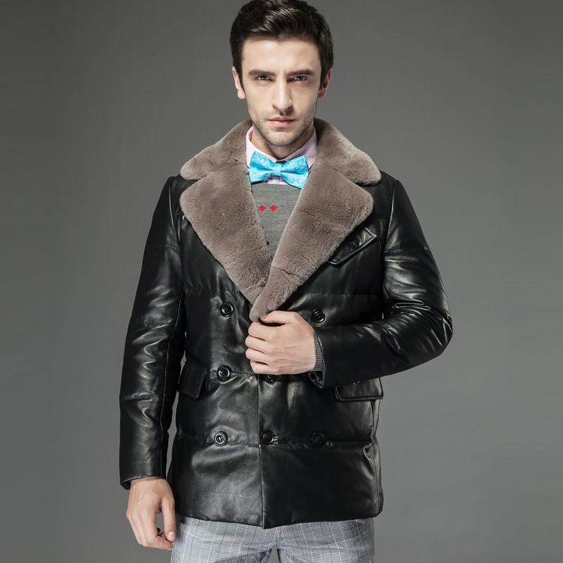 名皮网2013新品英伦风男士高档獭兔大翻领多排扣真皮绵羊皮大气羽绒外套